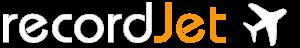 Logo des Onlinemusikvertriebs recordjet als Partner von VALLICON SALLY gelistet. Das Logo ist weiß-orange und beinhaltet ein Flugzeug hinter dem Text.